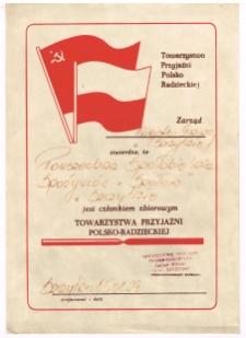 [Świadectwo członkowsta zbiorowego Towarzystwa Przyjaźni Polsko-Radzieckiej]