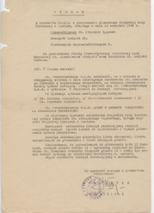 Wyciąg z protokołu nr XIII z posiedzenia plenarnego Miejskiej Rady Narodowej w Pasłęku, odbytego w dniu 10 września 1949 r.