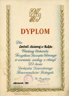 [Dyplom dla Centrali Nasiennej w Pasłęku, 1969 r.]