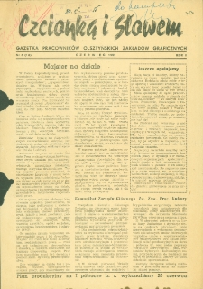 Czcionką i Słowem : gazetka pracowników Olsztyńskich Zakładów Graficznych, 1955 (R. 2), nr 6