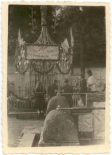[Zejście do Cudownego Źródełka oraz kapliczka podczas obchodów 70-tej rocznicy Objawień w Gietrzwałdzie]