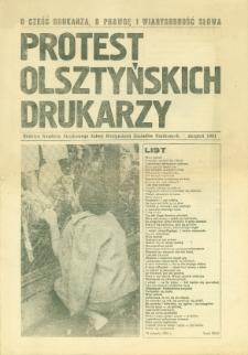 Protest Olsztyńskich Drukarzy : biuletyn Komitetu Strajkowego Załogi Olsztyńskich Zakładów Graficznych, 1981, [nr] sierpień