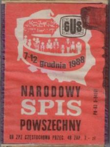 Narodowy Spis Powszechny : 7-12 grudnia 1988