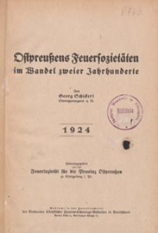 Ostpreußens Feuersozietäten im Wandel zweier Jahrhunderte