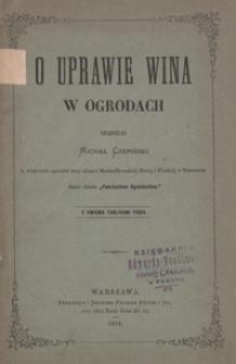 O uprawie wina w ogrodach