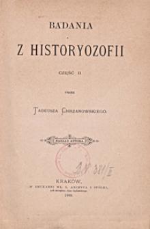 Badania z historyozofii. Cz. 2