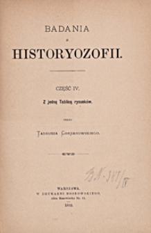 Badania z historyozofii. Cz. 4