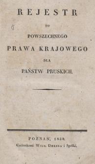 Rejestr do powszechnego prawa krajowego dla państw Pruskich