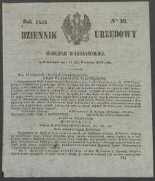 Dziennik Urzędowy Gubernii Warszawskiej, 1845 (R.1), nr 39