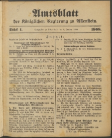 Amtsblatt der Königlichen Regierung zu Allenstein, 1908 Jg. 4, Stück 1