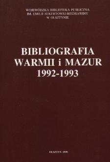 Bibliografia Warmii i Mazur 1992-1993