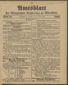 Amtsblatt der Königlichen Regierung zu Allenstein, 1908 Jg. 4, Stück 19