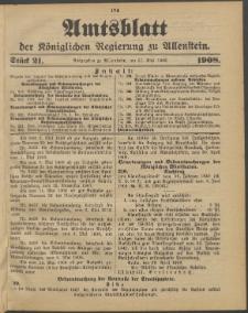 Amtsblatt der Königlichen Regierung zu Allenstein, 1908 Jg. 4, Stück 21