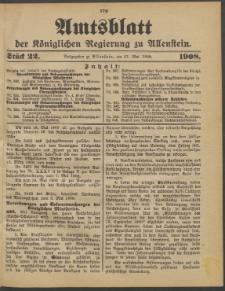 Amtsblatt der Königlichen Regierung zu Allenstein, 1908 Jg. 4, Stück 22