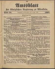 Amtsblatt der Königlichen Regierung zu Allenstein, 1908 Jg. 4, Stück 23