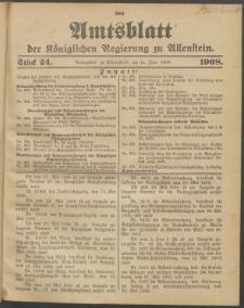 Amtsblatt der Königlichen Regierung zu Allenstein, 1908 Jg. 4, Stück 24 + Sonder-Beilage