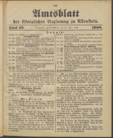 Amtsblatt der Königlichen Regierung zu Allenstein, 1908 Jg. 4, Stück 25