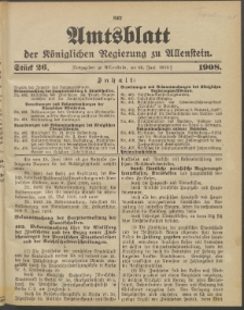 Amtsblatt der Königlichen Regierung zu Allenstein, 1908 Jg. 4, Stück 26 + Sonder-Beilage
