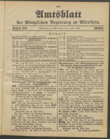Amtsblatt der Königlichen Regierung zu Allenstein, 1908 Jg. 4, Stück 28