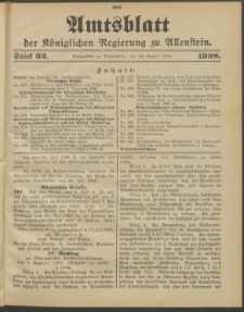 Amtsblatt der Königlichen Regierung zu Allenstein, 1908 Jg. 4, Stück 33