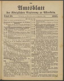 Amtsblatt der Königlichen Regierung zu Allenstein, 1908 Jg. 4, Stück 38