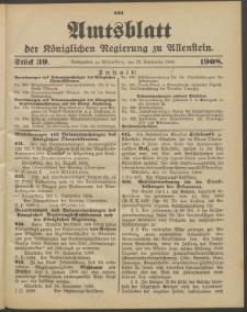 Amtsblatt der Königlichen Regierung zu Allenstein, 1908 Jg. 4, Stück 39