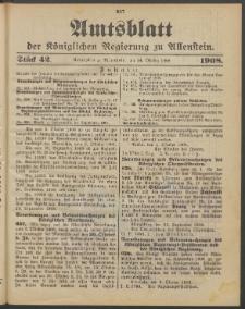 Amtsblatt der Königlichen Regierung zu Allenstein, 1908 Jg. 4, Stück 42