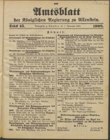 Amtsblatt der Königlichen Regierung zu Allenstein, 1908 Jg. 4, Stück 45
