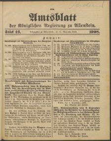 Amtsblatt der Königlichen Regierung zu Allenstein, 1908 Jg. 4, Stück 46