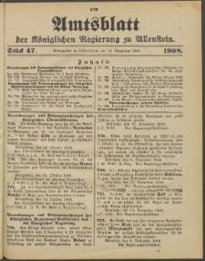 Amtsblatt der Königlichen Regierung zu Allenstein, 1908 Jg. 4, Stück 47 + Extrablatt