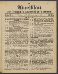Amtsblatt der Königlichen Regierung zu Allenstein, 1908 Jg. 4, Stück 51 + Extrablatt