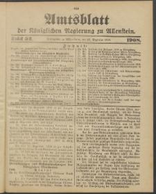 Amtsblatt der Königlichen Regierung zu Allenstein, 1908 Jg. 4, Stück 52 + Extrablatt, Sonder-Beilage