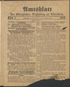 Amtsblatt der Königlichen Regierung zu Allenstein, 1912 Jg. 8, Stück 1