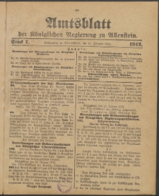 Amtsblatt der Königlichen Regierung zu Allenstein, 1912 Jg. 8, Stück 7