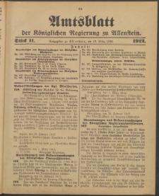 Amtsblatt der Königlichen Regierung zu Allenstein, 1912 Jg. 8, Stück 11