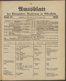 Amtsblatt der Königlichen Regierung zu Allenstein, 1912 Jg. 8, Stück 12