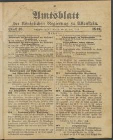 Amtsblatt der Königlichen Regierung zu Allenstein, 1912 Jg. 8, Stück 13