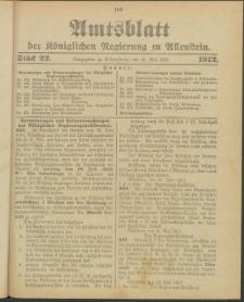 Amtsblatt der Königlichen Regierung zu Allenstein, 1912 Jg. 8, Stück 22 + Extrablatt