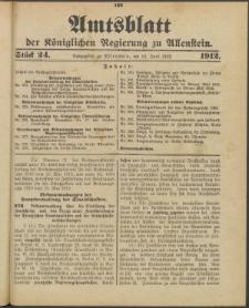Amtsblatt der Königlichen Regierung zu Allenstein, 1912 Jg. 8, Stück 24