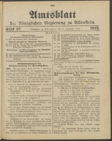 Amtsblatt der Königlichen Regierung zu Allenstein, 1912 Jg. 8, Stück 37 + Sonderbeilage