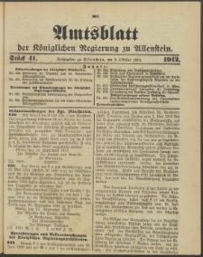 Amtsblatt der Königlichen Regierung zu Allenstein, 1912 Jg. 8, Stück 41