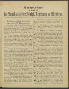 Sonderbeilage zu Stück 42 des Amtsblattes der Königl. Regierung zu Allenstein