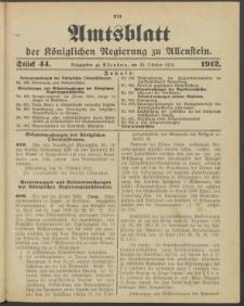 Amtsblatt der Königlichen Regierung zu Allenstein, 1912 Jg. 8, Stück 44