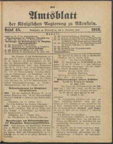 Amtsblatt der Königlichen Regierung zu Allenstein, 1912 Jg. 8, Stück 45