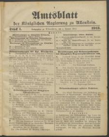 Amtsblatt der Königlichen Regierung zu Allenstein, 1913 Jg. 9, Stück 1