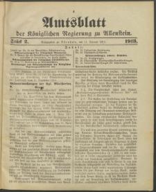 Amtsblatt der Königlichen Regierung zu Allenstein, 1913 Jg. 9, Stück 2
