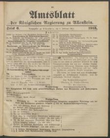 Amtsblatt der Königlichen Regierung zu Allenstein, 1913 Jg. 9, Stück 6 + Sonderbeilage