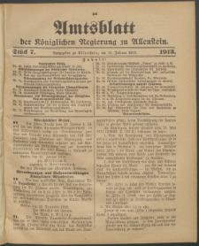Amtsblatt der Königlichen Regierung zu Allenstein, 1913 Jg. 9, Stück 7 + Sonderbeilage