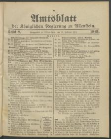 Amtsblatt der Königlichen Regierung zu Allenstein, 1913 Jg. 9, Stück 8 + Sonderbeilage