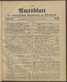 Amtsblatt der Königlichen Regierung zu Allenstein, 1913 Jg. 9, Stück 16 + Sonderbeilage